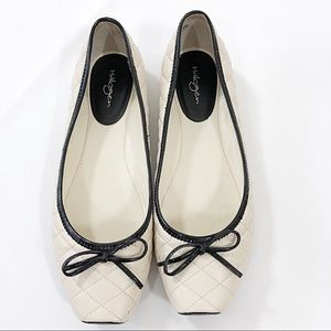 HALOGEN Quilted Cream/Black Patent Flats Size 8.5